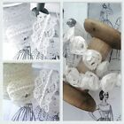PEARL LACE TULLE ROSES TRIMS wedding white ivory pearls roses bridal vintage