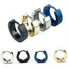 1 Pair Cool Stainless Steel Hoop Earring Black Blue Golden Silver for Men #B1