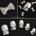 Lot 10x 3D Clear Alloy Rhinestone Bow Tie Nail Art Slices Diy Decorations