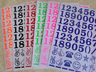 SHEET NUMBER STICKERS HANDS SMILEY FACE STAR - 2.5 CMS.