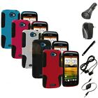 Hybrid Mesh Hard/Soft Silicone Case Cover+Accessories for HTC One S T-Mobile