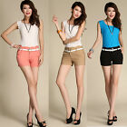 New Korean Girls Solid Color OL High Waist Pencil Casual Shorts Hot Pants + Belt