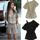 Sexy Womens Summer Casual Short sleeve Strapless Rompers Jumpsuits Short Pants
