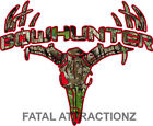 Red Camo Bowhunter Deer Skull S4 Vinyl Sticker Decal whitetail trophy buck