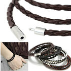 Unisex Braided Magnetic Clasp 3 Laps Leather Bracelet Handmade For Men Women