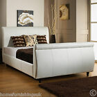 LIMCHO FAUX LEATHER 3FT6 LARGE SINGLE SLEIGH BED + MEMORY OR ORTHOPEDIC MATTRESS