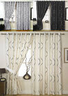 Lined Eyelet Curtains, Luxury Embroidered Wave Design, Ringtop Curtains