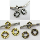 200 Silver Gold Bronze Tone 4.5mm Hole Daisy Spacer Charm Bead Fit Bracelet 10mm