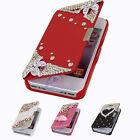 Deluxe Bling Flip Style Leather Magnetic Hard Case Cover For iPhone 4G 4S