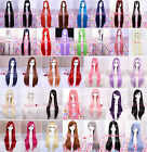 25-40inch Long straight synthetic all colors cosplay women party hair+wig cap
