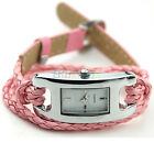New Faux Leather Braid Band Womens Quartz Movement Wrist Watches Wristwatch BD1U