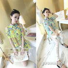 Fashion Women Off Shoulder Print Button Pleated Summer Chiffon Tops Blouse Shirt