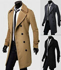 Mens Winter Trench Leisure Coat Slim Long Jacket Double Breasted Overcoat Blazer