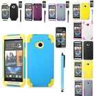 Protector + Stylish Hybrid Combo Soft Hard Rugged Case Cover For HTC ONE M7 +Pen