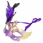 Women's Venetian Half Mask Feather Ribbon Masquerade Gras Party Accessory