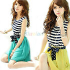 Gril Princess Style Chiffon Stripes Vest Mini Sleeveless Skirt Dress BF1U