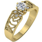 Solitaire Anniversary Ring Band Vintage 1/2 Ct Round Diamond Jewelry White Gold