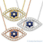Evil Eye Luck Charm Greek Mati Turkish Nazar Hamsa Sterling Silver & CZ Necklace