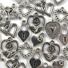 50 Mixed Love Heart Charms Tibetan Silver Pendants - 8 Designs 10-25mm