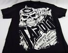 Mens NEW Tapout Wrestling Black Skull Distressed Logo Graphic Shirt Size M L XL