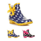 WOMENS LADIES POLKA DOT SHORT ANKLE BOW WELLIES WELLINGTON BOOTS SIZE 3-8