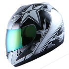 NEW ADULT MOTORCYCLE STREETBIKE FULL FACE HELMET STAR SILVER SIZE S M L XL
