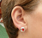 VERY PRETTY ROUND LOVE HEART EARRINGS FOR PIERCED EARS CHOICE OF COLOURS