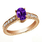 1.08 Ct Oval Purple Amethyst White Diamond 14K Rose Gold Ring