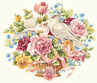 Ceramic Decals Mixed Rose Floral Basket Dove Pair image