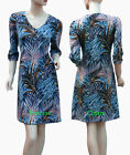 Size 10-16 Tunic Day Dress w Palm Leaf Print 3/4 Sleeve Blue Black Purple Beige