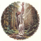 Ceramic Decals Native American Maiden Praying Forest Scene