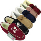 Womens Moccasin Faux Suede Leather Furry Slippers Warm Lined Moccasins Slipper