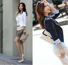 Womens Sexy Ladies 3/4 Sleeve One Button Slim Short Blazer Suit Coat Jacket
