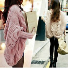 New Womens Ladies Knitted Cardigan Sweater Batwing Thick Casual Loose Coat Tops