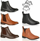 WOMENS LADIES LOW HEEL ANKLE PULL ON CHELSEA GUSSET LEATHER WINTER BOOTS SIZE