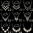 New Rhinestone Pearl Necklace Bracelet Earrings Ring Jewelry Set Charm Adjusted