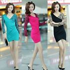Sexy Womens Deep V Neck Slim Lace Floral Hip Package Bud Skirt Dress Bodycon