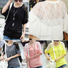 New Fashion Ladies Womens Loose 3/4 Lace Batwing Sleeve Blouse Tops T-Shirt