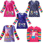 Baby Girl Peppa Pig Polka Dot Kids Top Dress T-Shirt Rainbow Sleeve 1-6Y Clothes