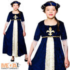 Deluxe Tudor Royal Princess Girls Fancy Dress Up Medieval Kids Childs Costume