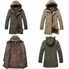 Winter Men's Military Parka Hooded Fur Collar Long Coat Warm Jackets Outerwear