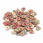 100pcs cute Mixed Heart Star Painting Wooden Sewing 2 Holes Buttons Scrapbooking