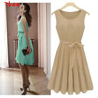 Womens Celeb Style Pleated Chiffon Bow Belt Skirt Vest Casual Party Dress