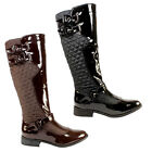 WOMENS QUILTED PATENT BUCKLE RIDING BOOTS FLAT LADIES NEW 3-8