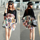 Oversized Boho Womens Batwing Dolman Sleeve Top Loose Stitching Tee Shirt Blouse