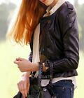 New Womens  Long Sleeve Black Double-Breasted PU Leather Coat  Jacket Tops