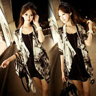 Ladies 3/4 Sleeve Chiffon Poncho Cape Coat Tops Tie-Dye Sheer Blouse Cardigan