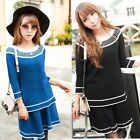 Womens Color Blocking Long Sleeve Crew Neck Two-piece Dress Skirt Knitwear Suit