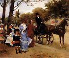 MOTHER DAUGHTER OUTING IN THE PARIS PARK CARRIAGE HORSE BY JOSE DARMANIN REPRO