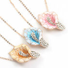 Rose Gold GP enamel calla floral Swarovski Crystal pendant chain necklace d555